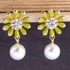 Betsey Johnson Flower and Pearl Earrings